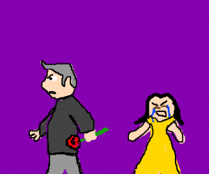 Charming old man steals rose from young girl.