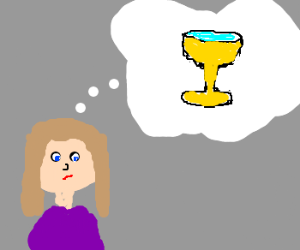 Lady thinking about a Goblet