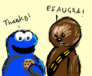 Chewie offers the Cookie Monster a cookie.