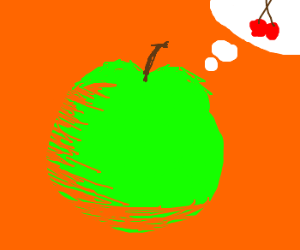 Green apple wishes he was a cherry