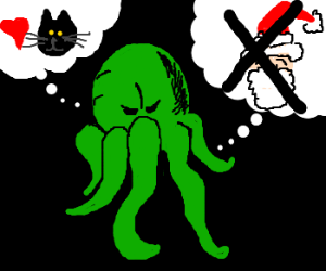 cthulhu loves cats, rejects santa