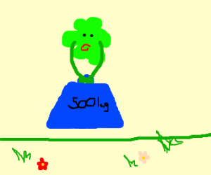 A green blob lifting a weight bigger than it