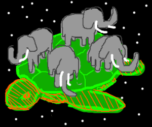 A turtle, carrying four elephants on it's back