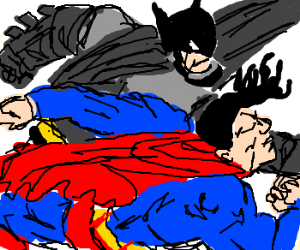 Batman and Superman fighting