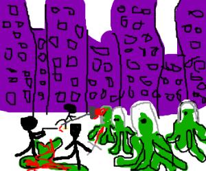 black people fight aliens in purple black city
