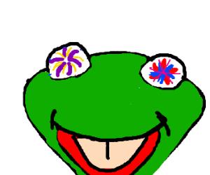 Fireworks explode in a frog's eyes