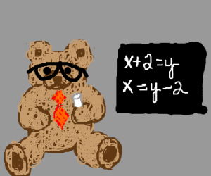 Nerdy teddy bear knows algebra