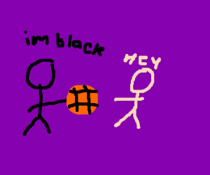 Black guy steals basketball from mean dude