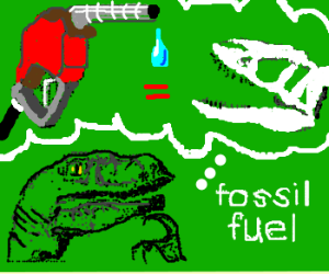 Philosoraptor contemplates fossil fuel
