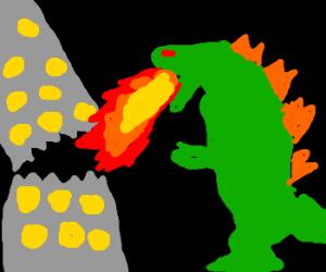 Godzilla destroys city