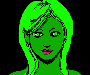 Pink lipped Green Alien is staring at you