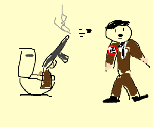 An ak47 taking a dump while shooting hitler