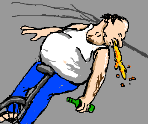 Drunk Man Puking and Riding Unicycle.