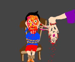 Woman defaces child's face