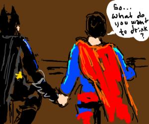 Batman and Superman at a gay-bar