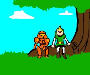 samus and link sitting under a tree