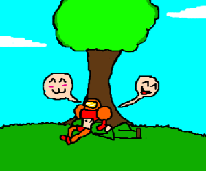 Link and Samus sit under a tree laughing