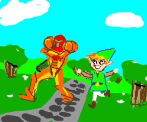 Link and Samus enjoy a lovely day together.