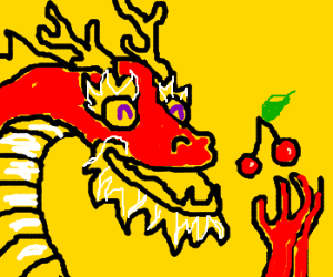 Red Chinese dragon loves cherries