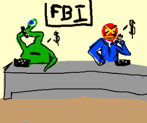 alien and wrestler work on FBI telemarketing