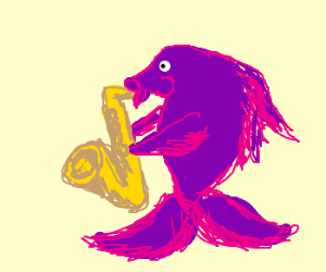 Purple goldfish plays the saxaphone