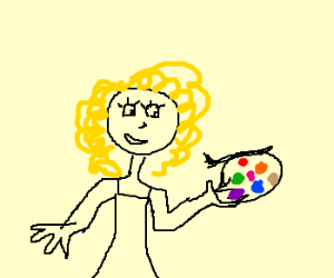 Happy Curly girl with paint palette