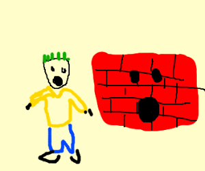 Grass-haired boy and brick wall are shocked