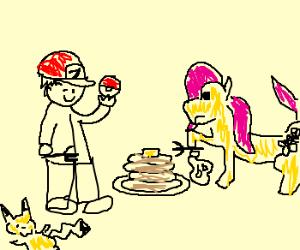 Ash Ketchum and Fluttershy eat pancakes