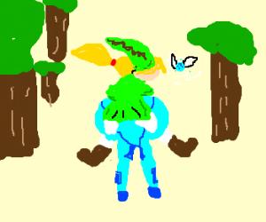 link piggybacks samus through a forest