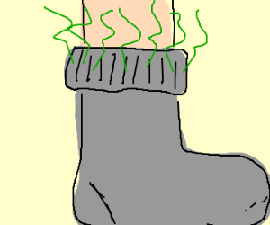 cuff of sock is smelly.