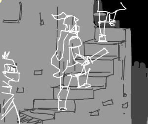 Ghostly Knights make their way up the stairs
