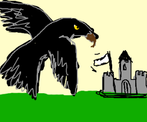 giant raven-hawk makes tiny castle surrender