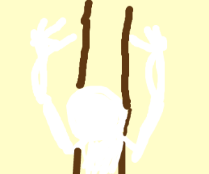 Hands or bones try to climb a wooden ladder