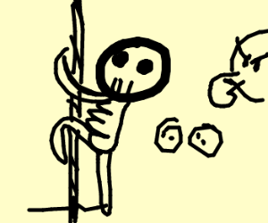 Skeleton Climbs the Rope in Gym Class