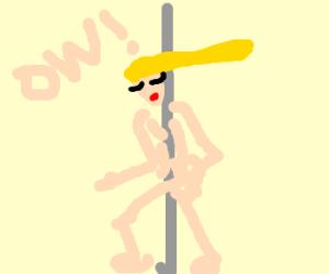 stripper scrapes ribs on pole