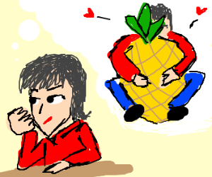 Contemplating making sweet love to a pineapple