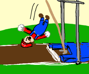 Mario fails at pole-vaulting