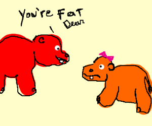 Red hippo thinks orange hippo daughter is fat