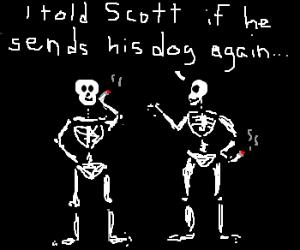 Skeletons taking a cigarette break