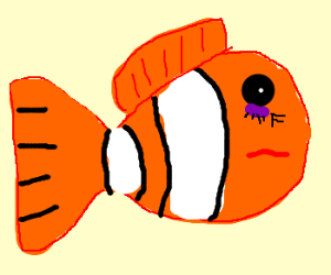 Ugly fish has a purple wart under his eye