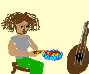 Ebony girl eating pie in front of guitar