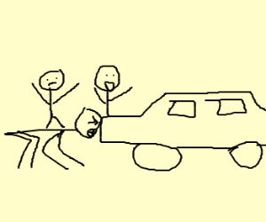 Man stops car with face! Friends cheer car on.