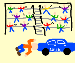 Crowd cheers as man headbutts a Buick