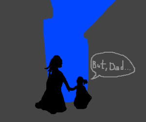 """Cloaked girl calls cloaked mother """"Dad"""""""
