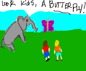 friendly elephant showing 2 kids a butterfly