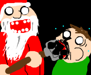 Santa fatally force feeds coal to naughty man.