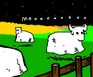 Ghost cows on the plain.