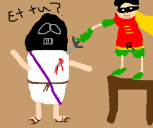 Robin stabs Roman Darth Vader in the back.