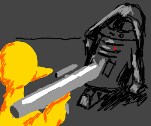 Bird shoots down Vader-styled R2D2