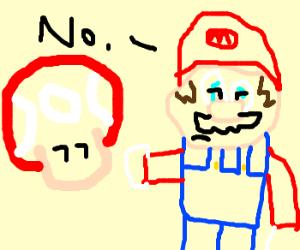 mario wont tell mushroom what he needs